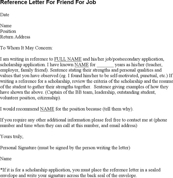 Reference Letter For Friend Reference Letter For A Friend Pdf