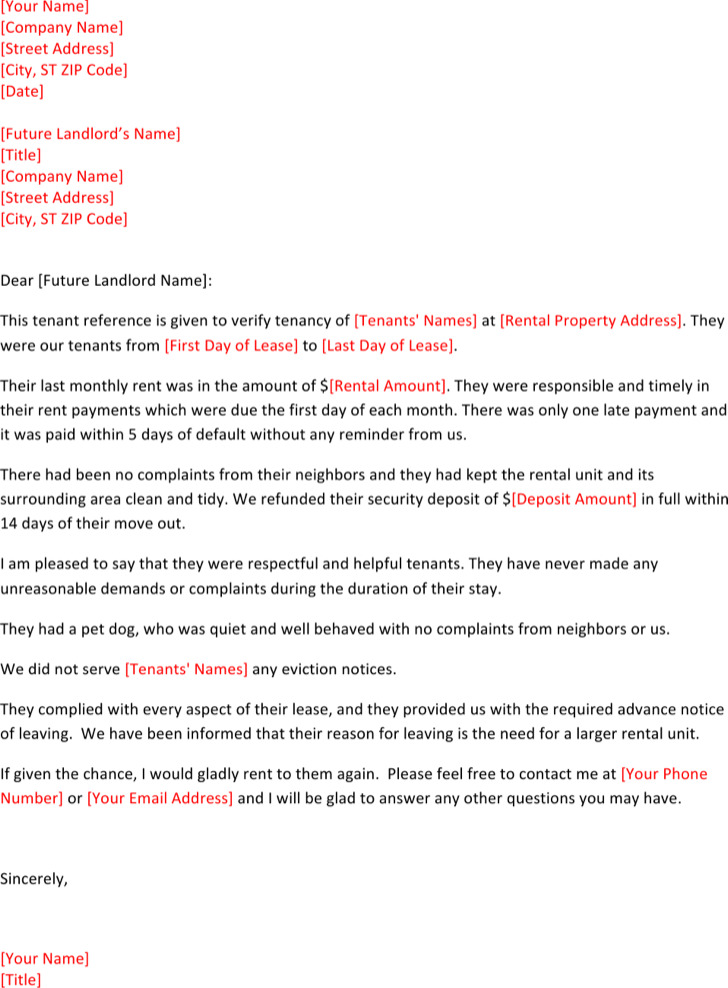Sample Rental Reference Letter Templates  Download Free  Premium