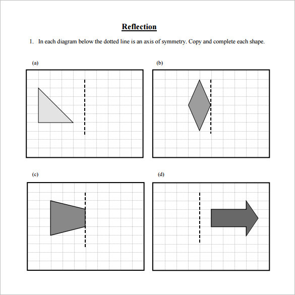 Reflection Reflective Symmetry Worksheet