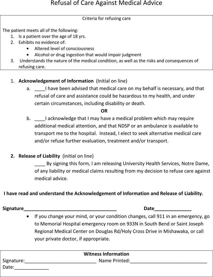 Against Medical Advice Form  Download Free  Premium Templates