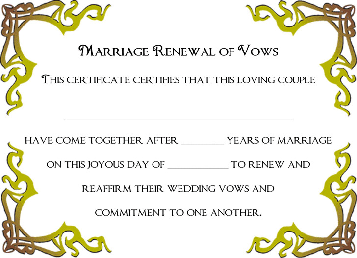 Marriage certificate download free premium templates forms renewal of marriage vows certificate yadclub Gallery