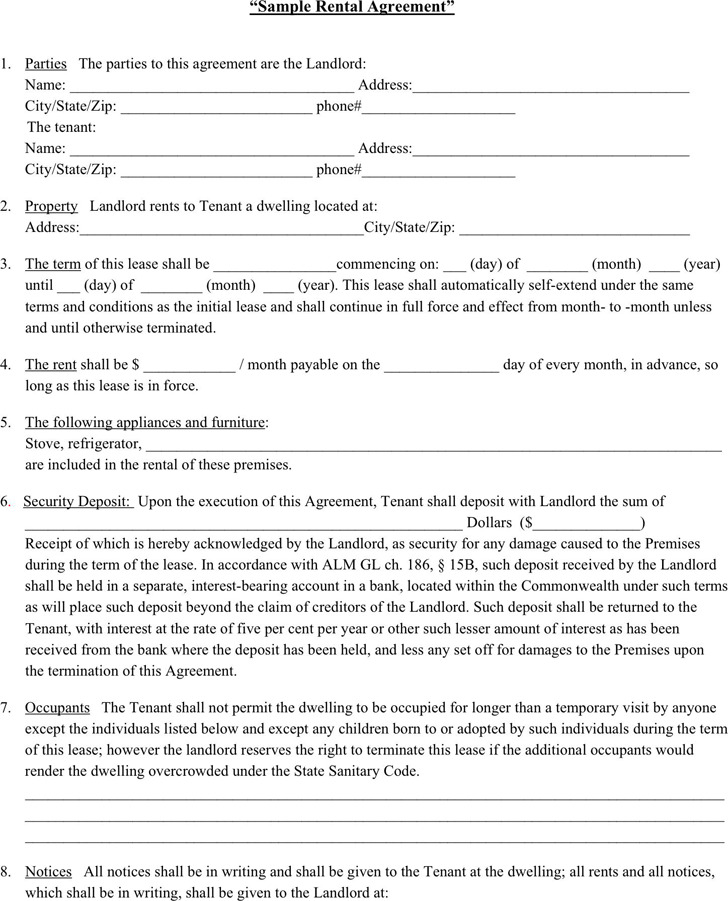 Rental Agreement Template – Landlord Lease Agreement Tempalte