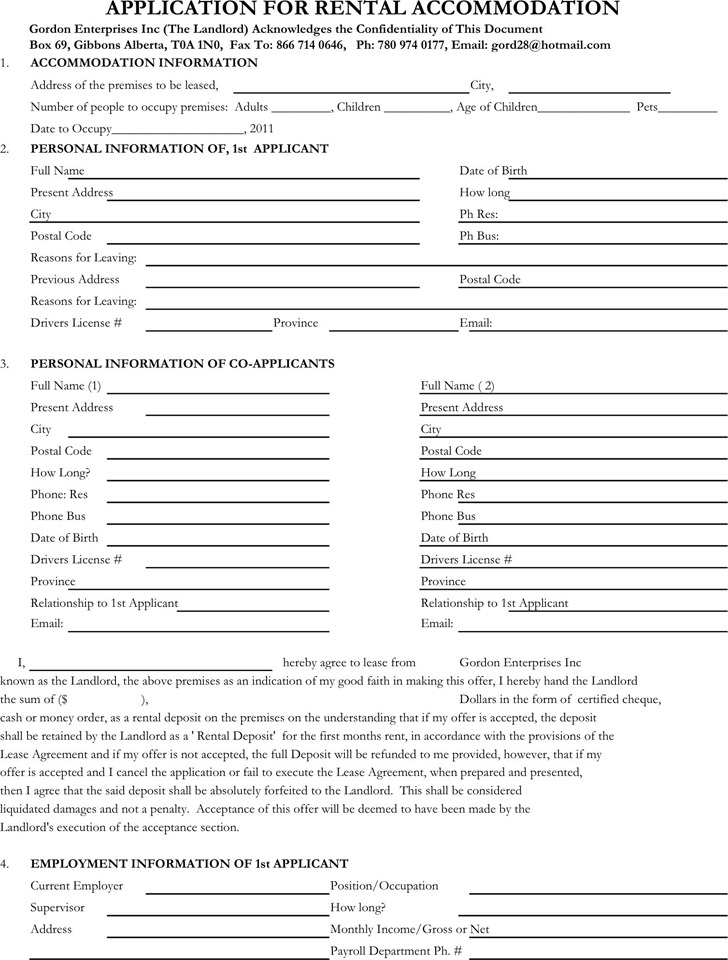 Free Rental Application Form