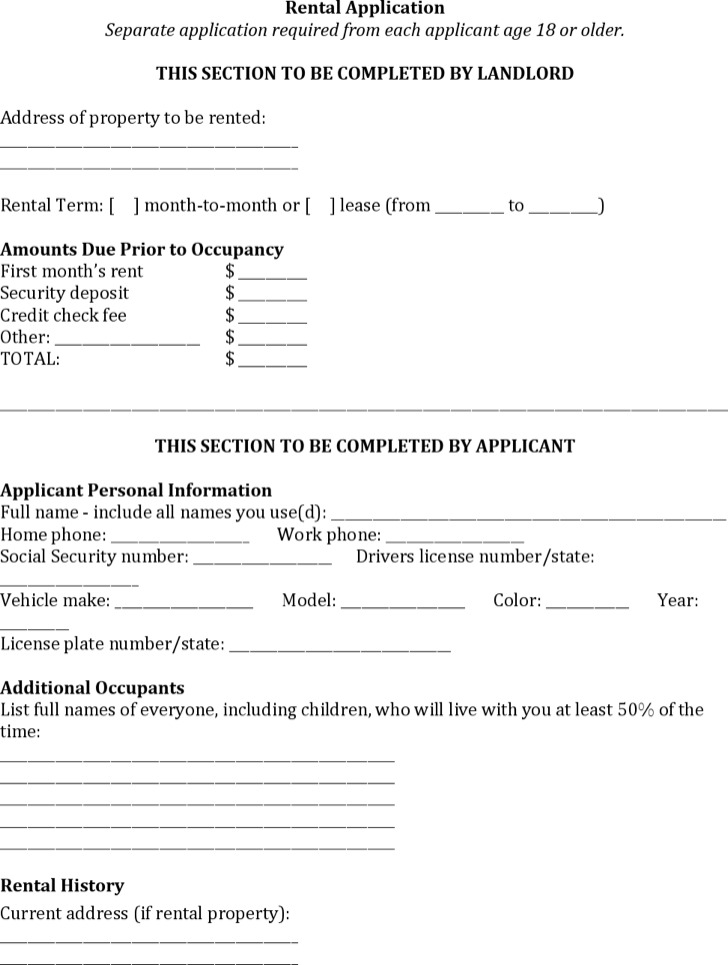 Rental Reference Form Office Rental Application Form Sample