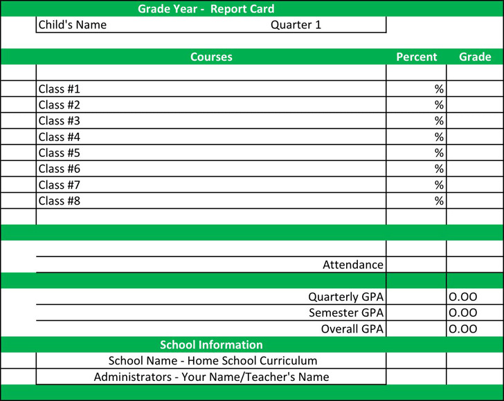 Grade Year Report Card