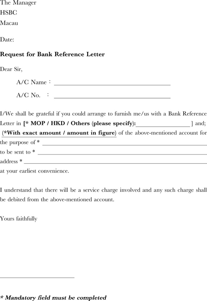 Doc16491749 Bank Reference Letter Template Sample Bank – Request for Reference Template