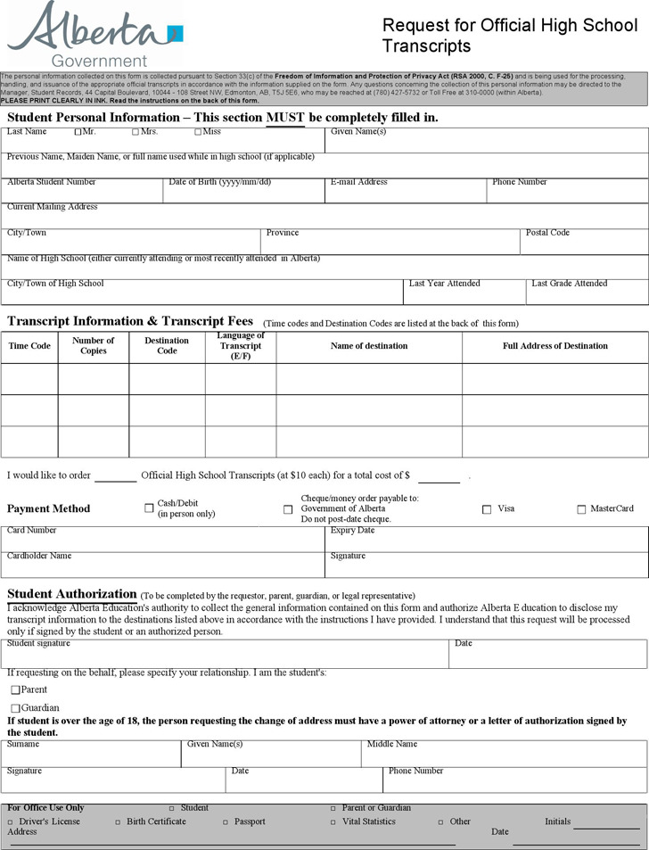Request for Official High School Transcripts