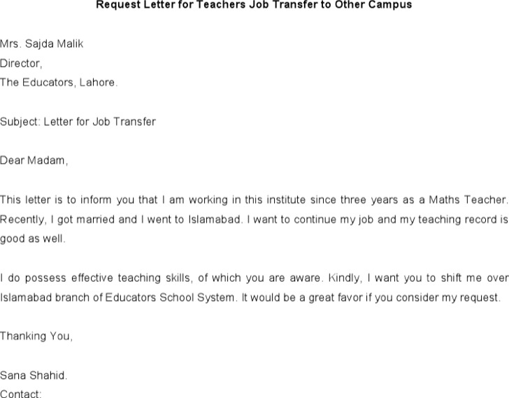 Request Letter For Teachers Job Transfer To Other Campus Download
