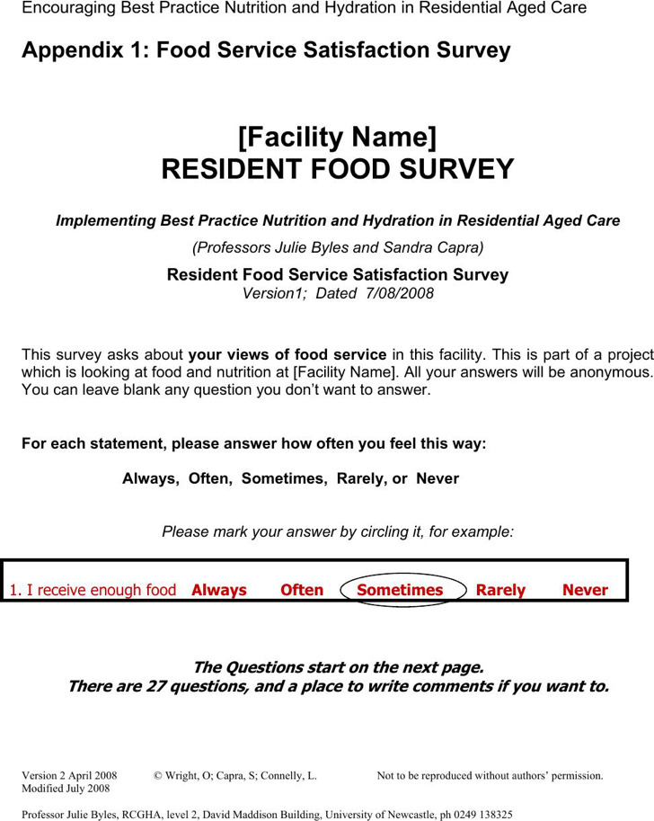 Food Survey Template  MayotteOccasionsCo
