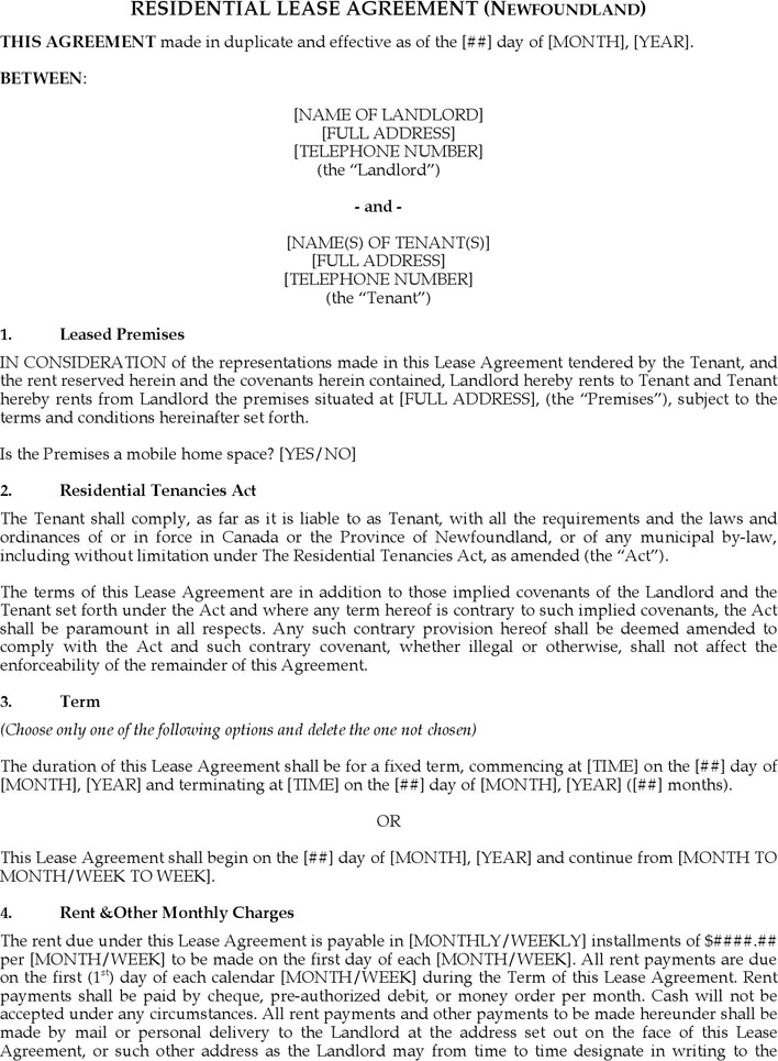 Residential Lease Agreement (Newfoundland)