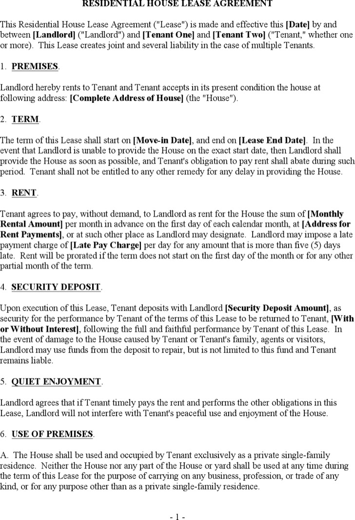 Doc12751650 Lease Templates Doc736952 Lease Templates Free – House Rental Lease Template