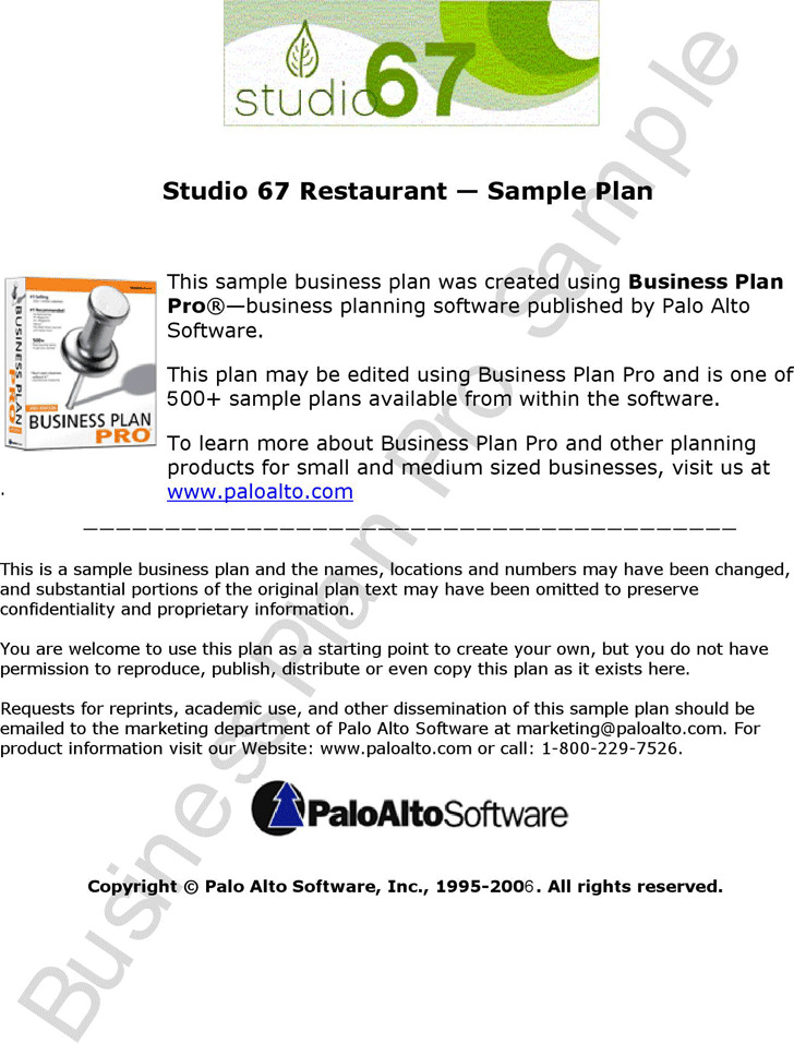 Restaurant Business Plan Sample 2