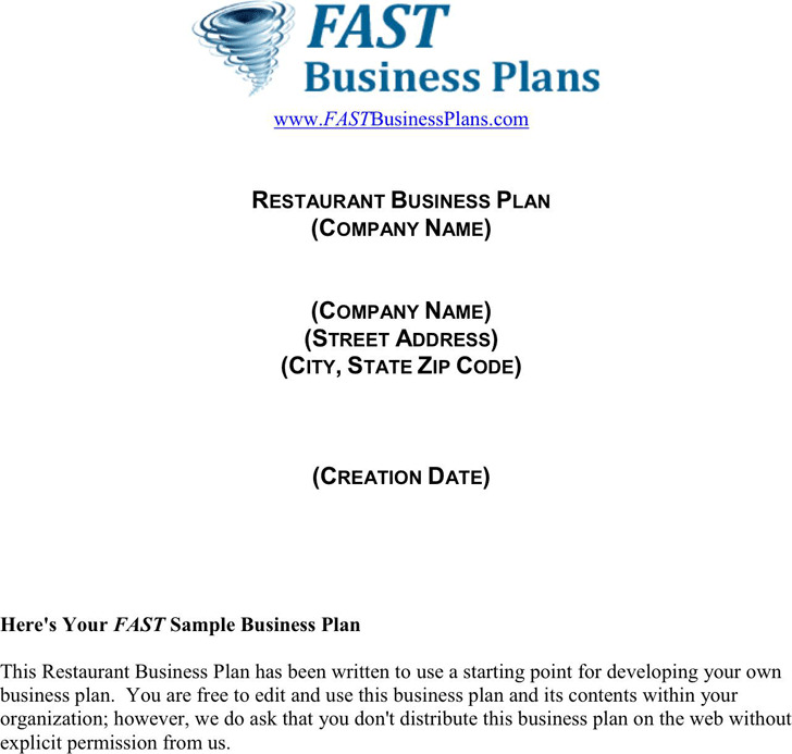 Restaurant Business Plan Template  Download Free  Premium