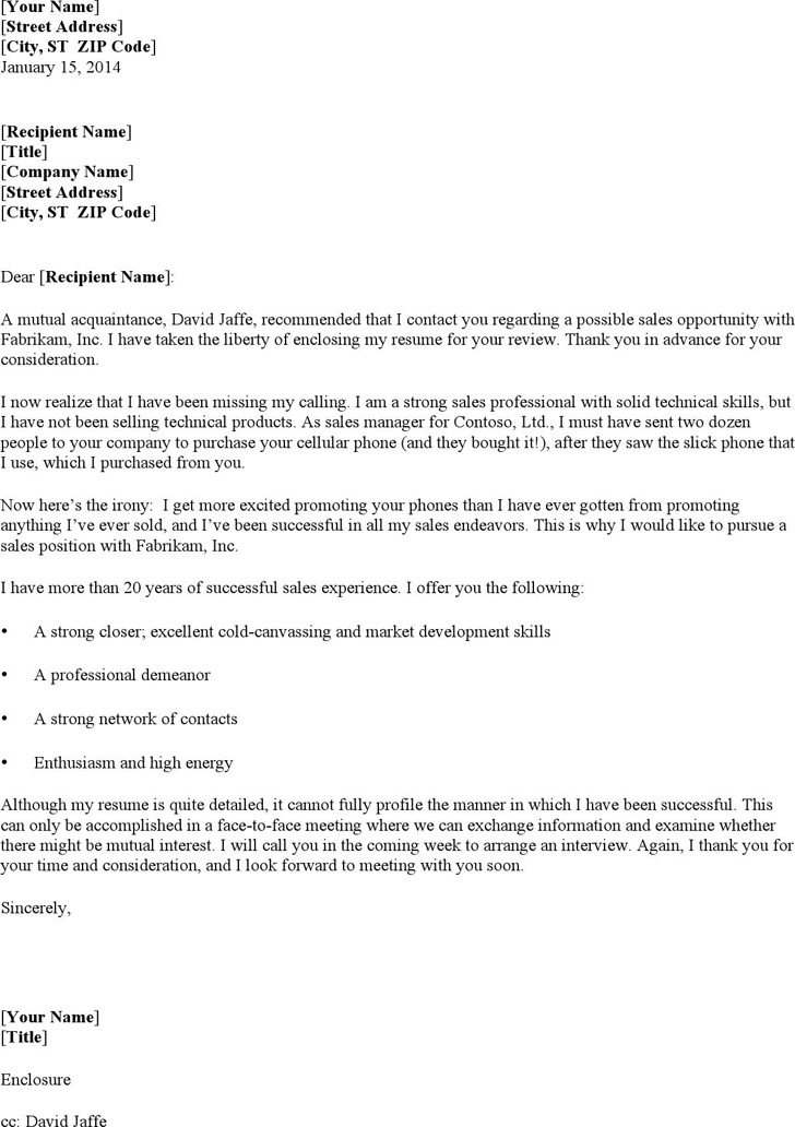 Resume Cover Letter for Sales Representative