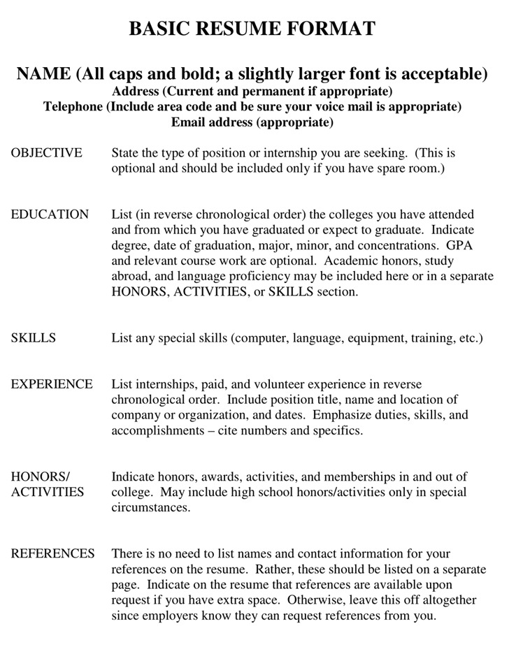 basic resume samples for free sample resume and free resume - Copy Of A Resume Format