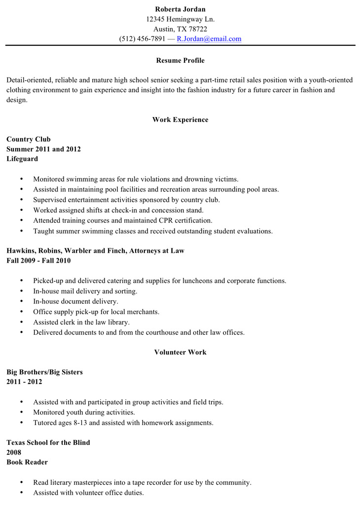 High School Resume Template  Download Free  Premium Templates