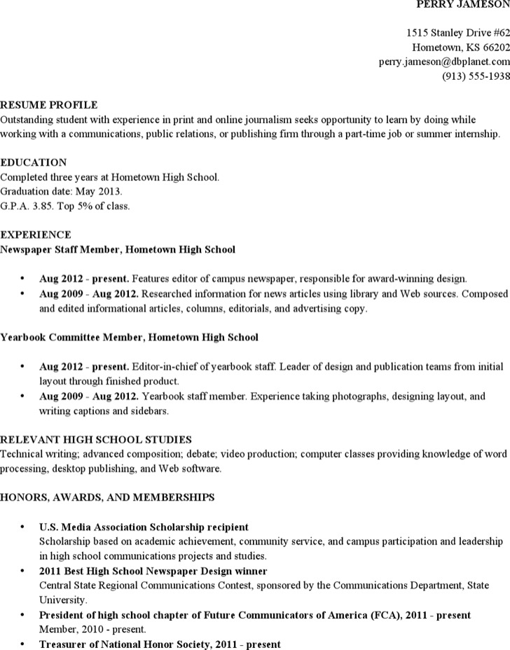 Resume Sample High School Student Academic 1