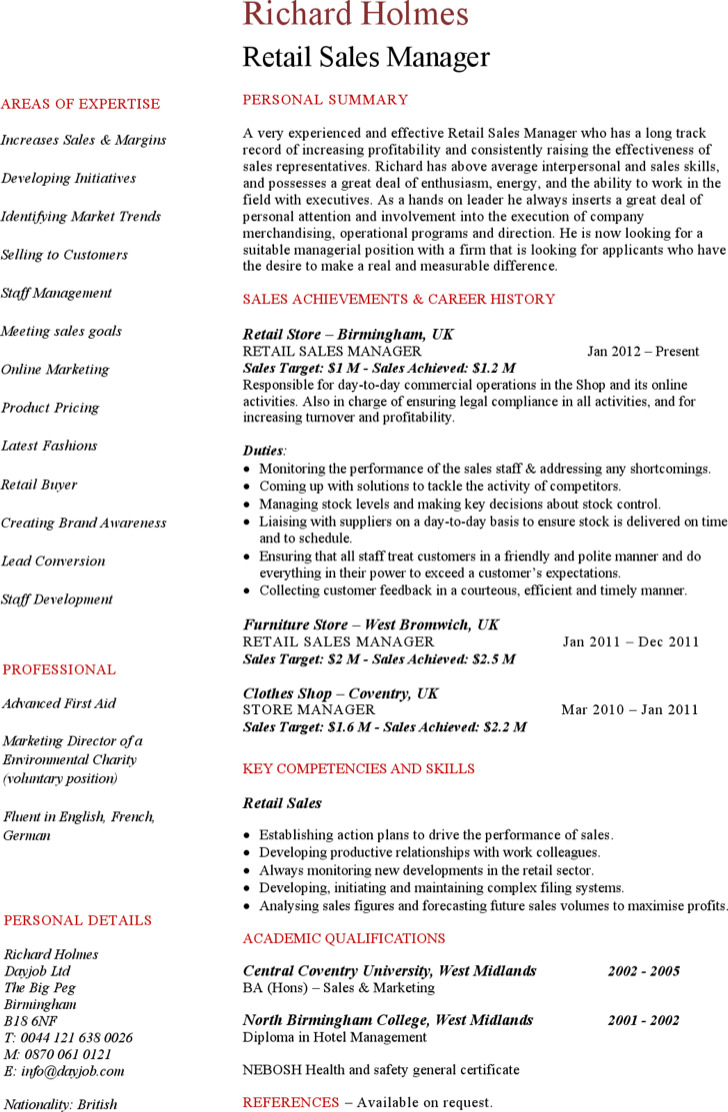 Retail Sales Manager Resume