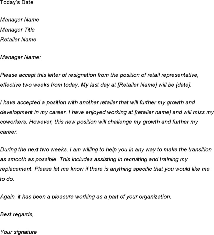 Retail Two Weeks Notice Letter Template