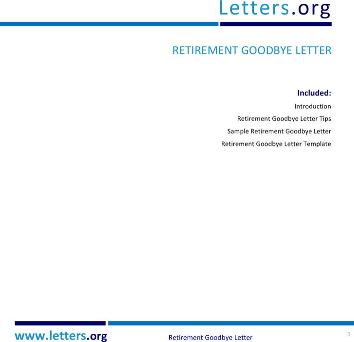 Retirement Goodbye Letter