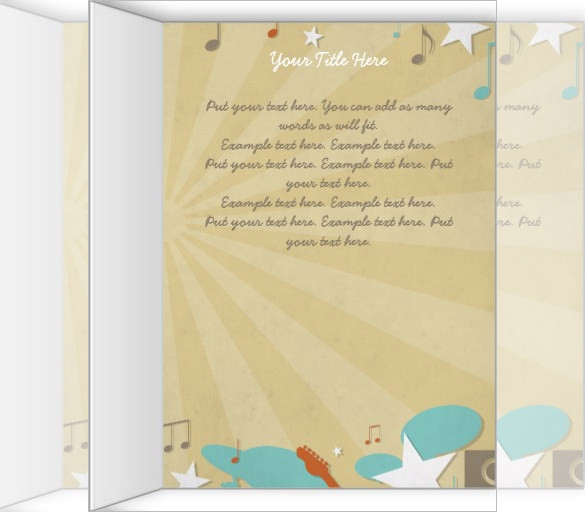 Retro Band Funeral Program Brochure Template