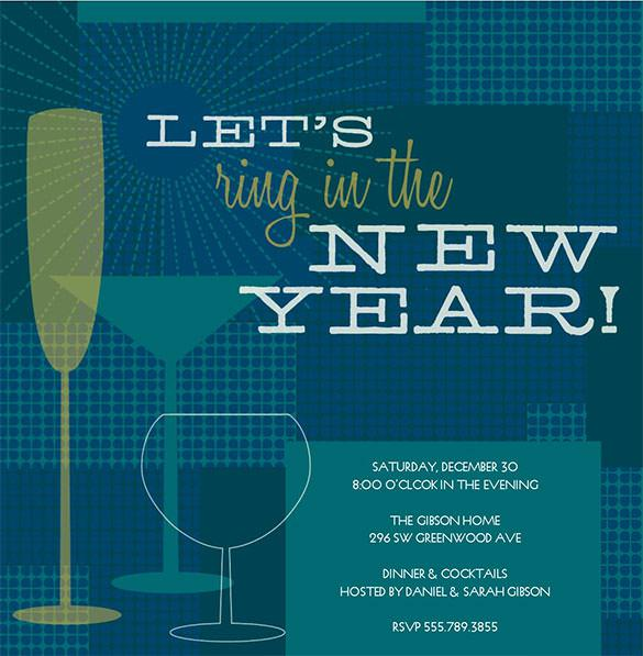 Retro New Years Invitation Template Download Editable