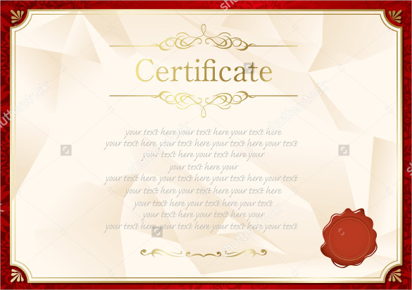 Retro Red Frame Blank Certificate Template Vector