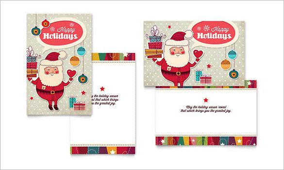 Retro Santa Greeting Card Template Download