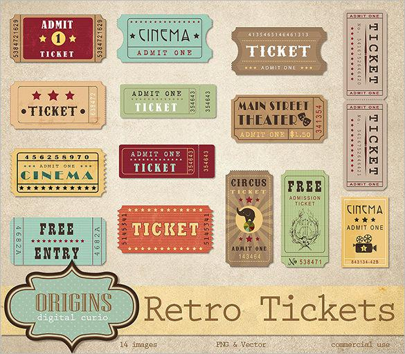 Retro Ticket Designs for Movie, Event
