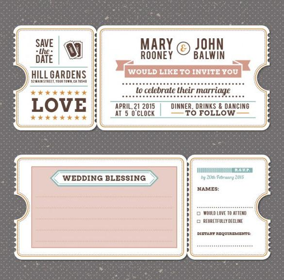 Retro Vintage Wedding Invitation Template Free Vector