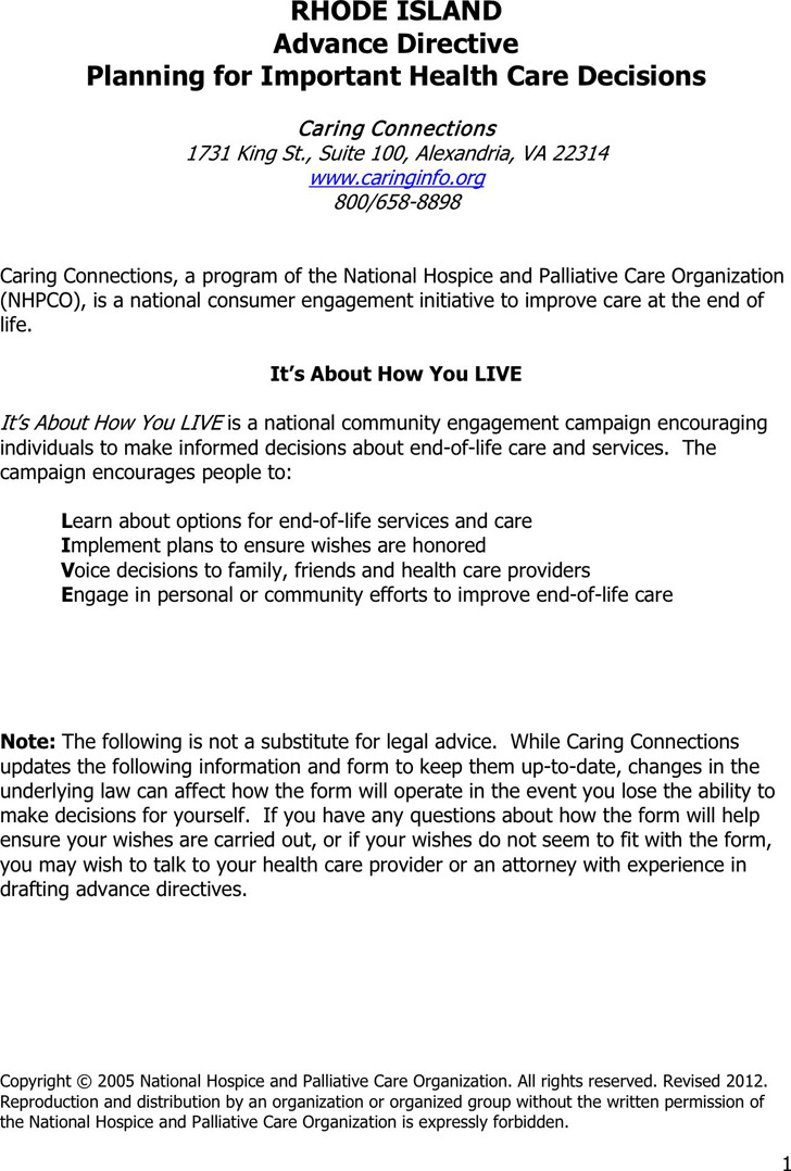 Rhode Island Advance Health Care Directive Form