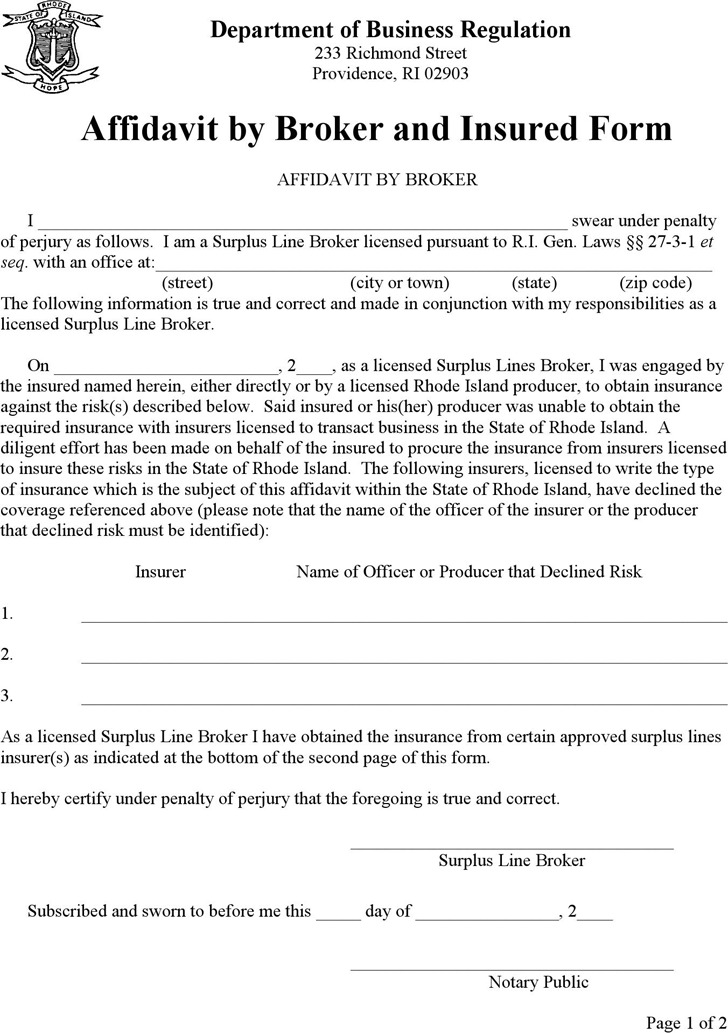 Rhode Island Affidavit by Broker and Insured Form