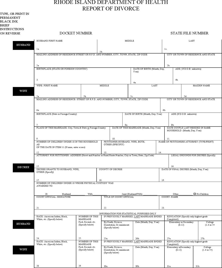 Rhode Island Department of Health Report of Divorce Form