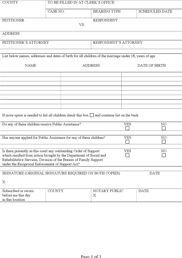 Rhode Island Disclosure of Minor Children Form