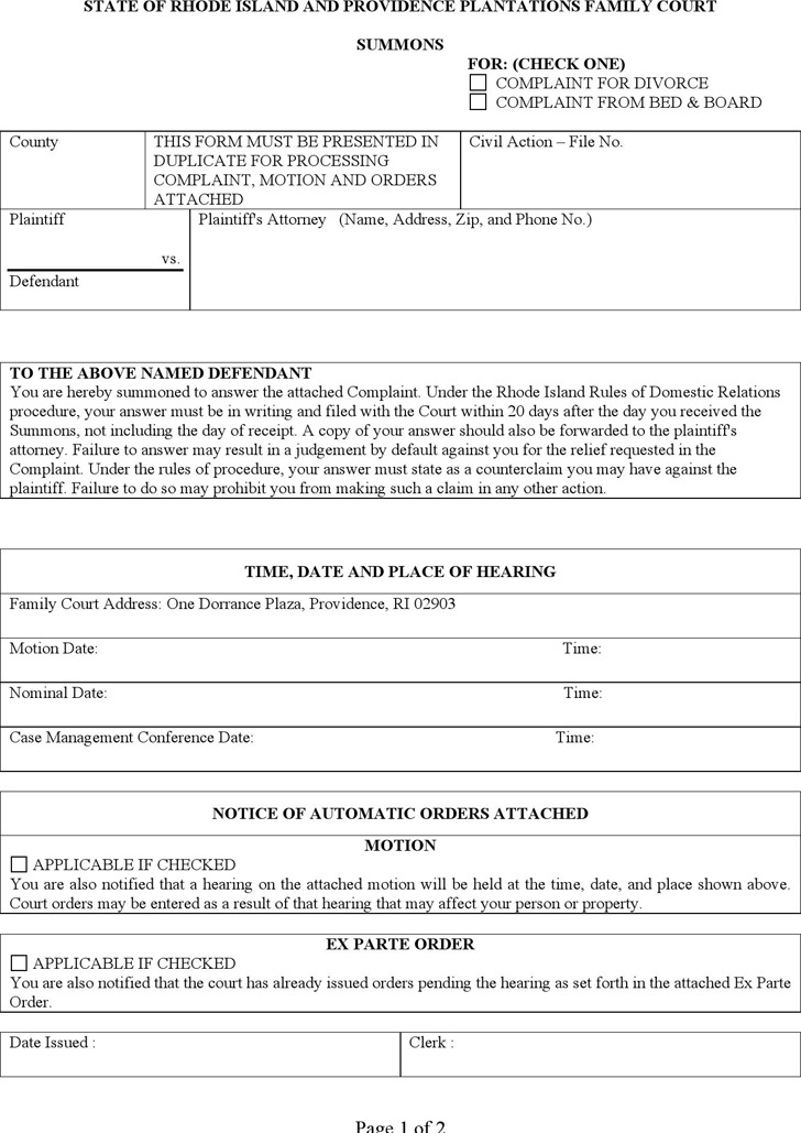Rhode Island Divorce Summons Form