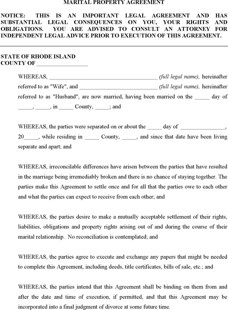 Rhode Island Marital Settlement Agreement Form