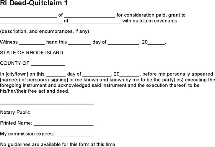 Rhode Island Quitclaim Deed Form  Download Free  Premium