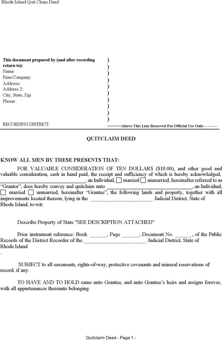 Rhode Island Quitclaim Deed Form 2