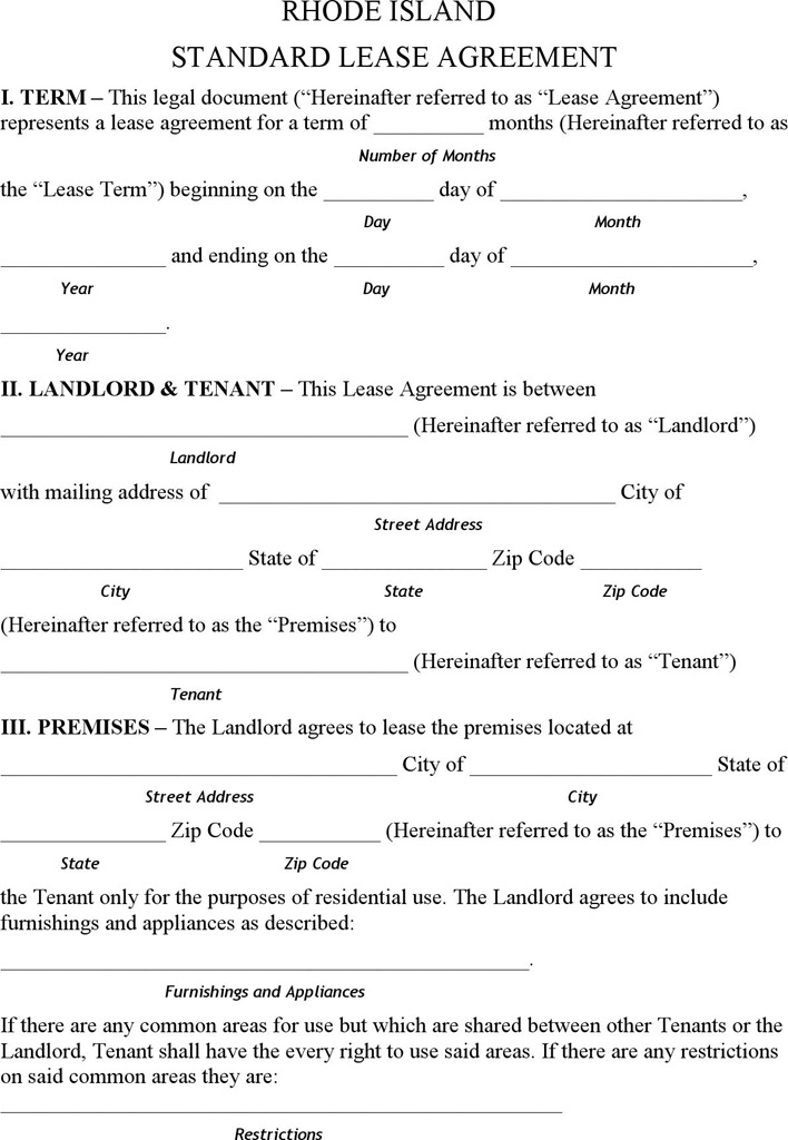Rhode Island Residential Lease Agreement Form