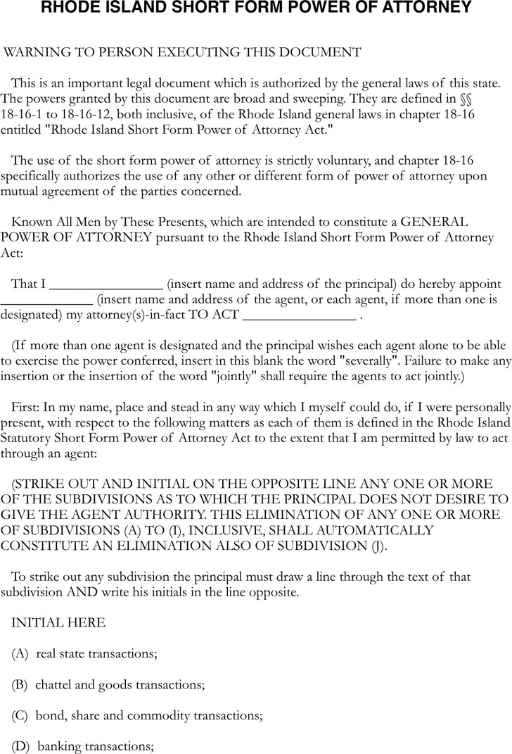 Rhode Island Statutory Power of Attorney Form