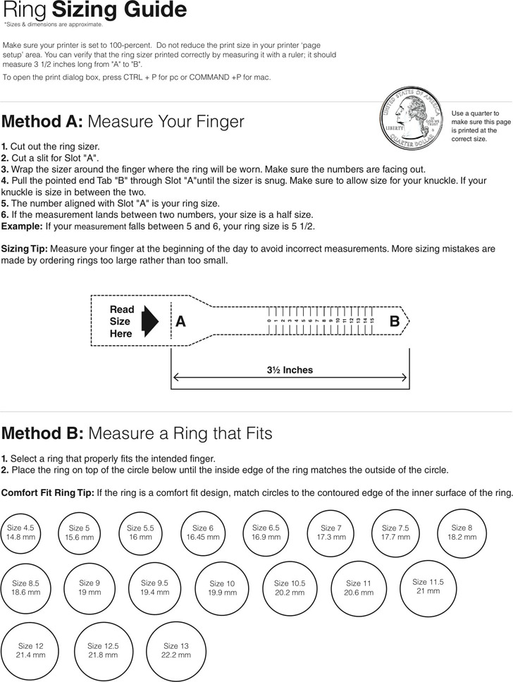 Ring Size Chart 2