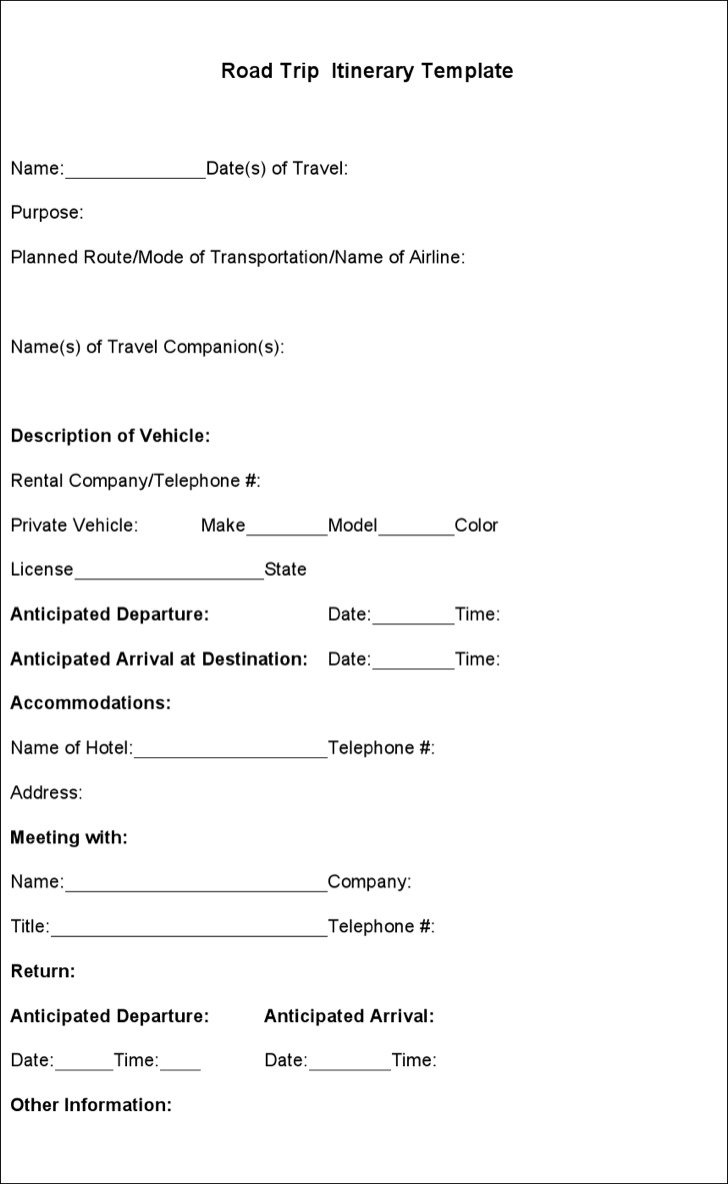 Sample road trip itinerary templates download free for Blank trip itinerary template