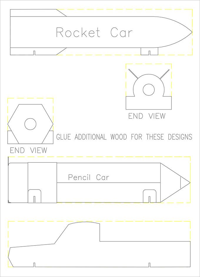Rocket Pinewood Derby Template Free