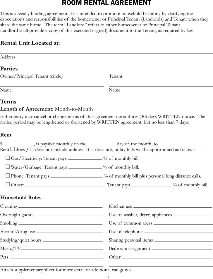 Apartment Rental Contract Sample Free Printable Rental Lease