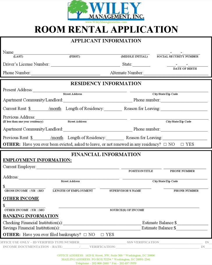 Rental Application Templates Download Free Premium Templates - Room for rent application template