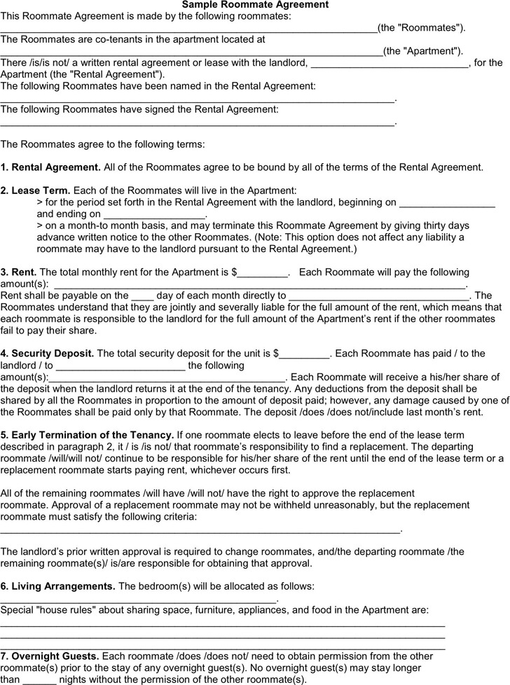 40 Free Roommate Agreement Templates Forms Word Pdf. Printable