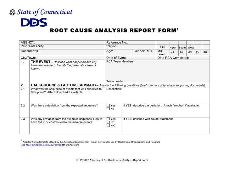 Gallery of root cause analysis report template for Rca document template