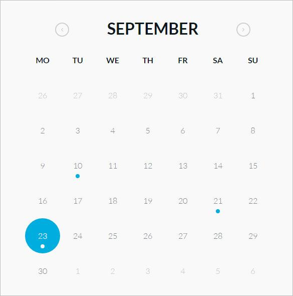 Round HTML and CSS Calendar