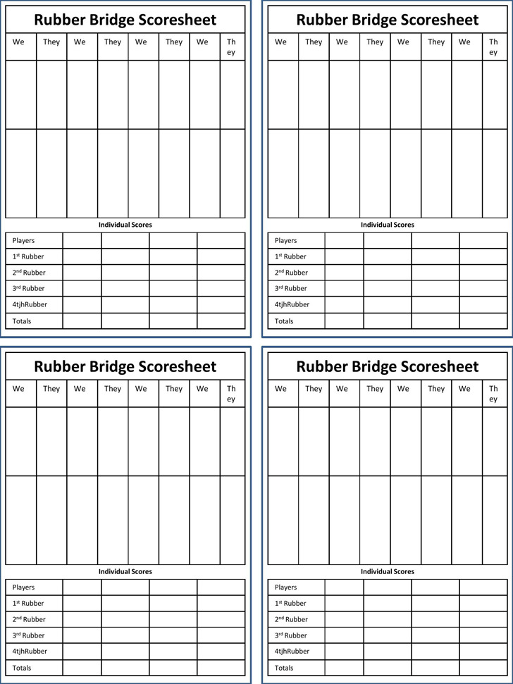 Bridge Score Sheet  Download Free  Premium Templates Forms
