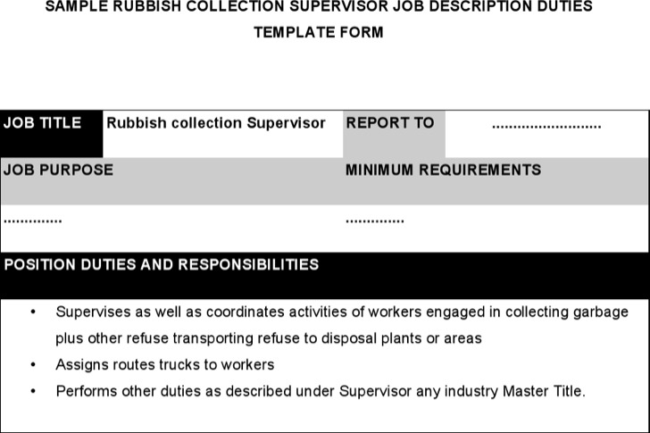 Rubbish Collection Supervisor Job Description